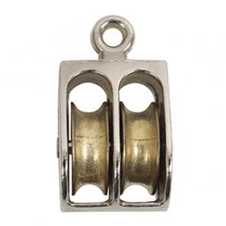 Garrucha doble fija de zinc 1