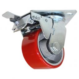 Rodaja de fierro PU rojo gira y freno 3